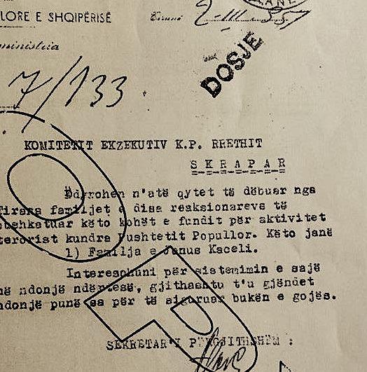 Akti i internimit të gruas dhe 6 fëmijëve të Jonuz Kacelit