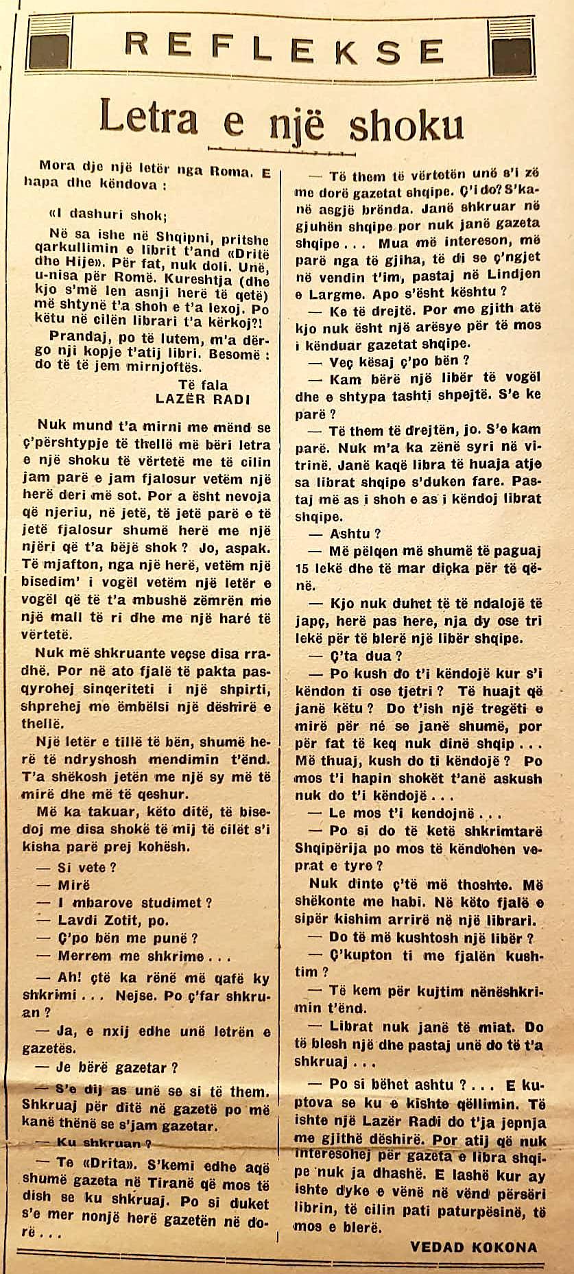Vedat Kokona - Leter e nje shoku (1939)