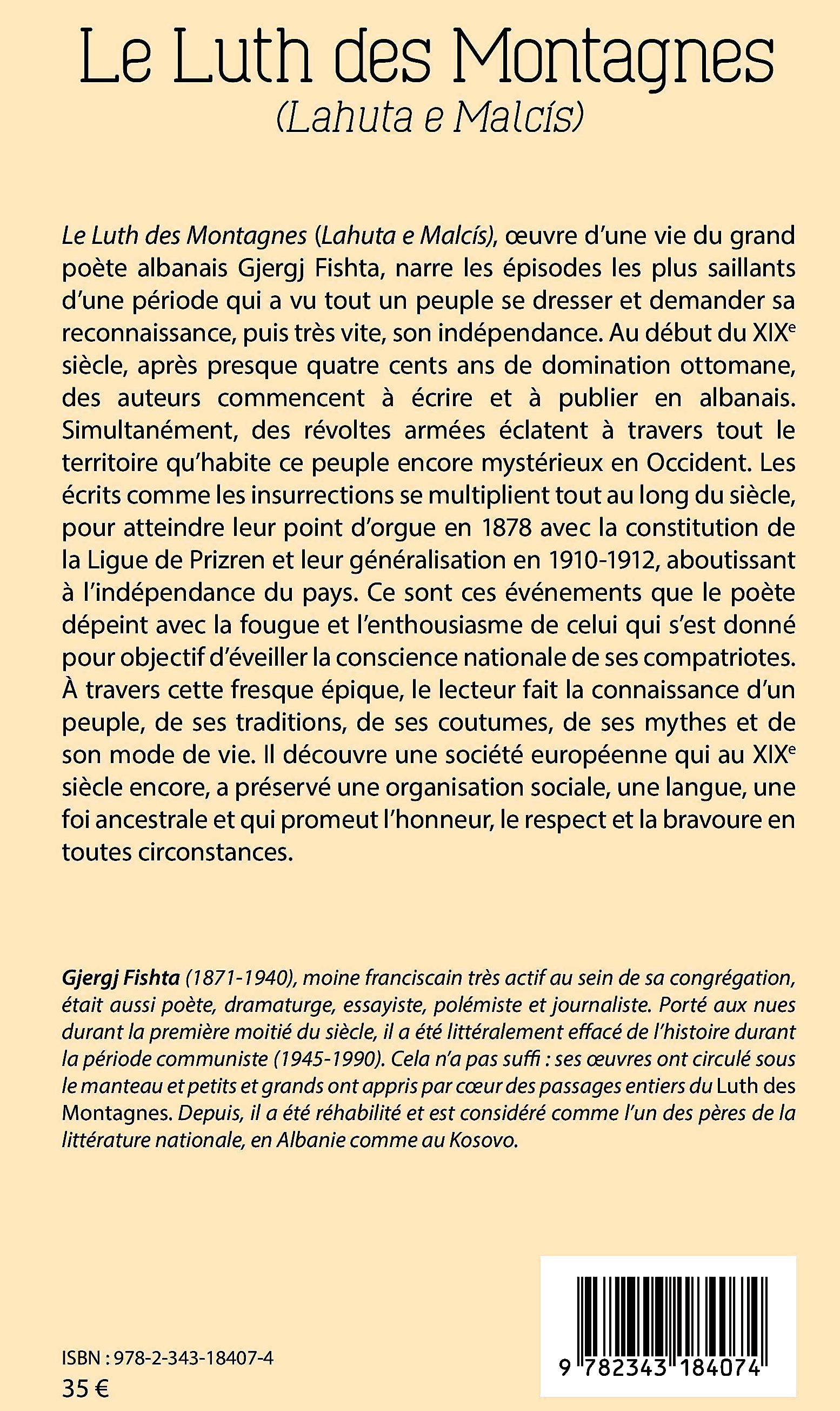 """Kombi i madh nuk shuhet kurrë! - """"Lahuta e Malcis"""" - në frëngjisht nga Abedin Krasniqi (Kopertina e pasme)"""
