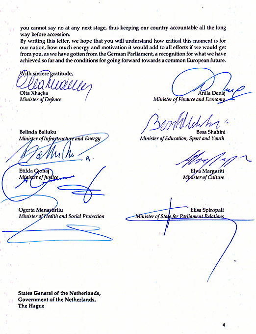 Letra e OSBE nga 8 Ministret shqiptare