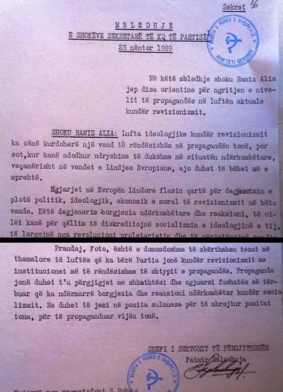 Faksimile e mbledhjes 25 nëntor 1989