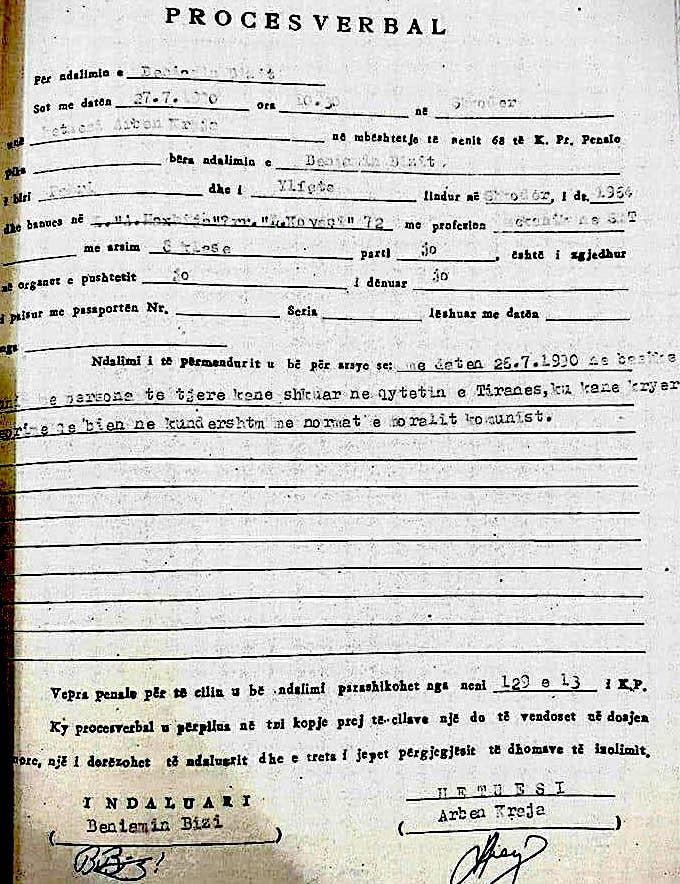 Akt hetuesi i Arben Krajës në kohën e diktatuës