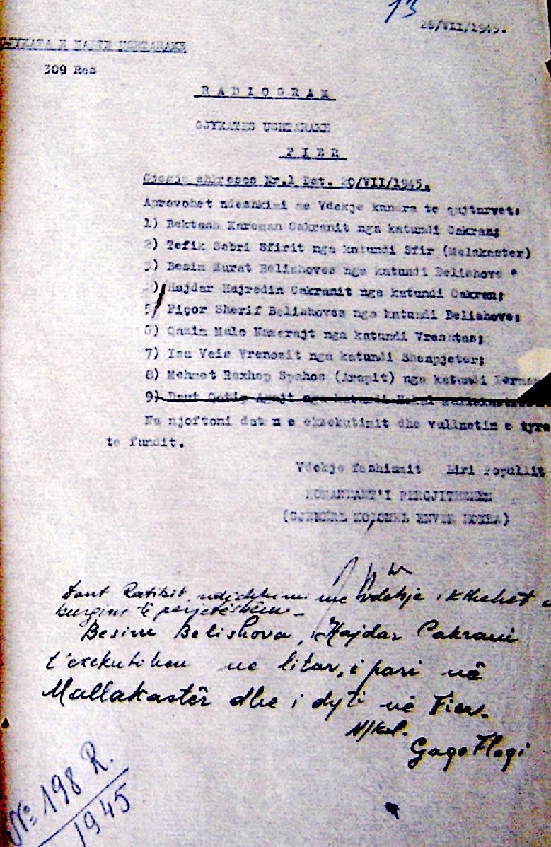 Hoxha urdheron për pushkatimin e Bektash Cakranit e të tjerëve.