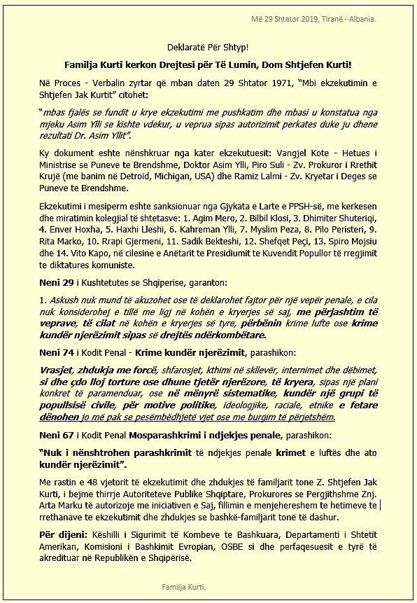 Deklarata per shtyp e Familjes Kurti