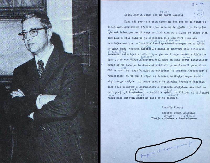 Poeti Martin Camaj dhe letra nga Sigurimi i Shtetit