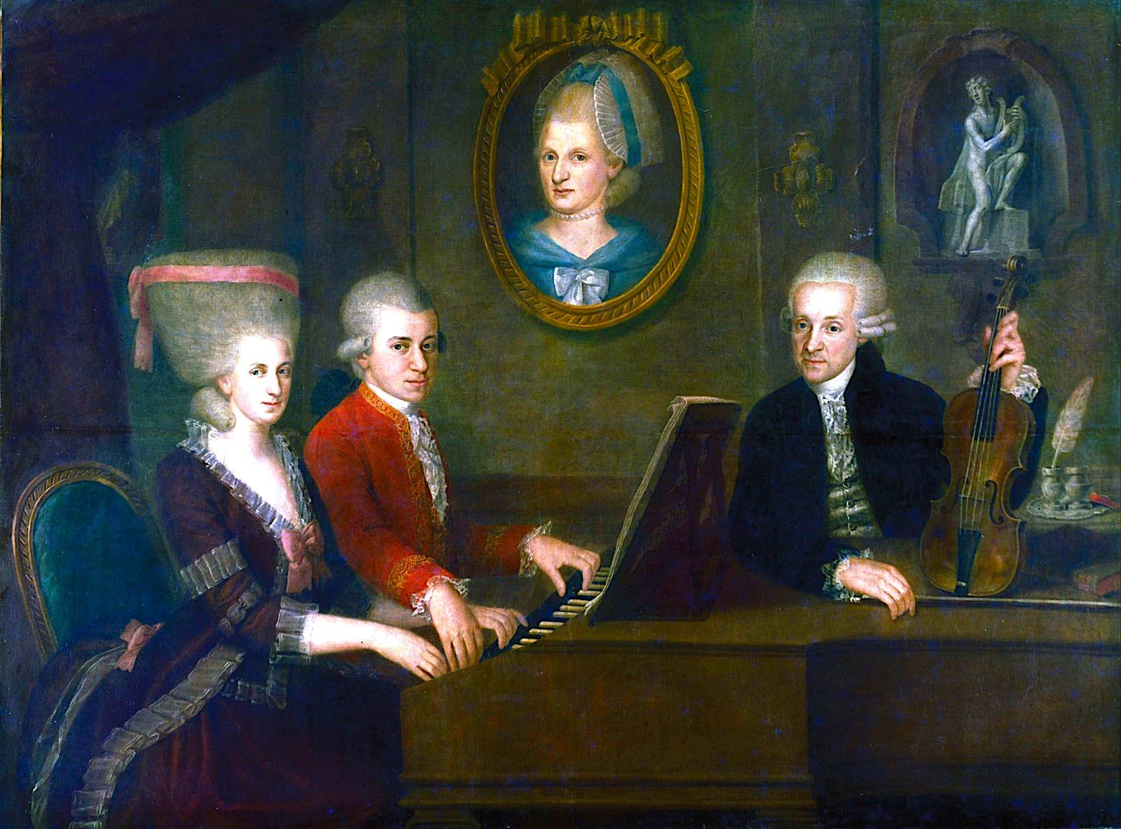 Familja Mozart: Wolfgang Amadeus Mozart me motren Maria Anna, babane Leopold - Mozart House, Salzburg,
