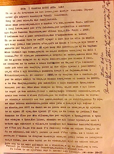 Letra që Marije Mazrreku - Gjoka i ka shkruar Dr. Lekës