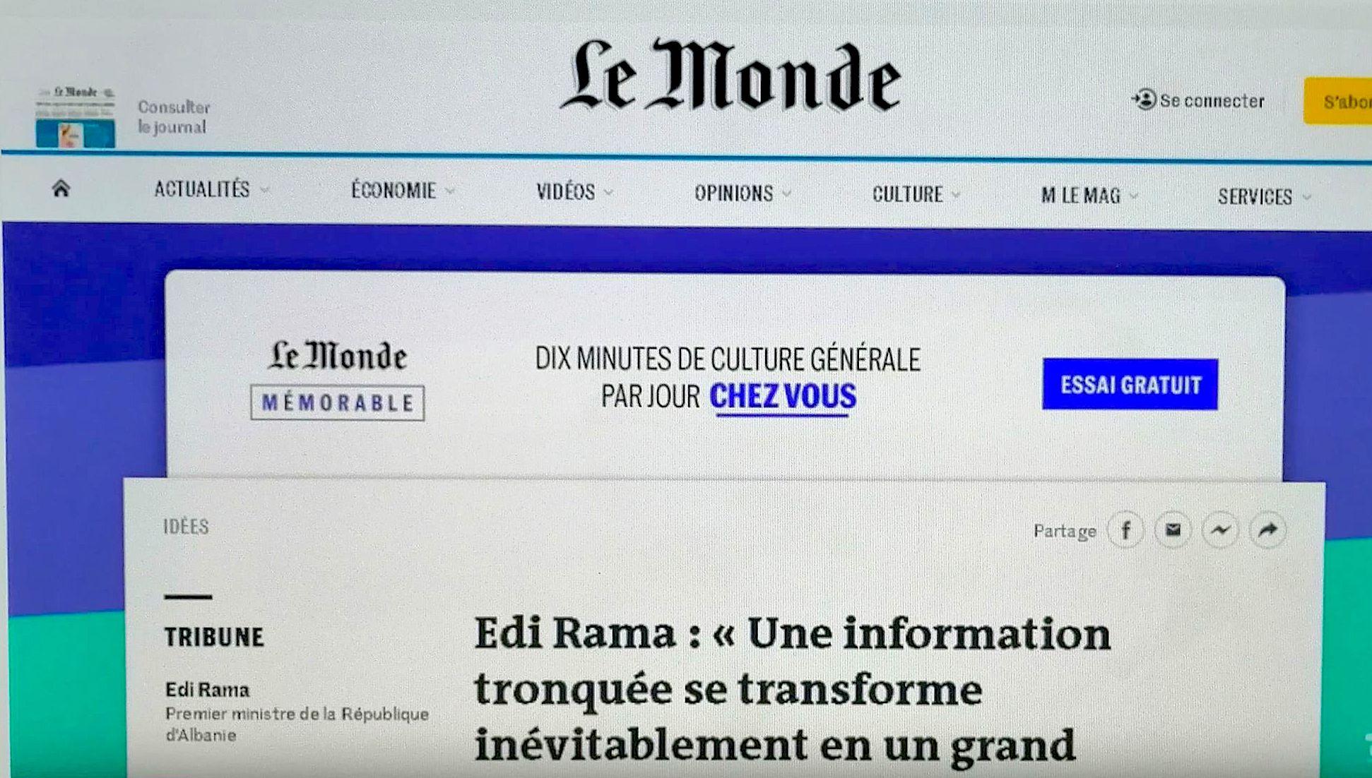 """Artikulli i Kryqeverisësit Shqiptar në """"Le Monde"""""""