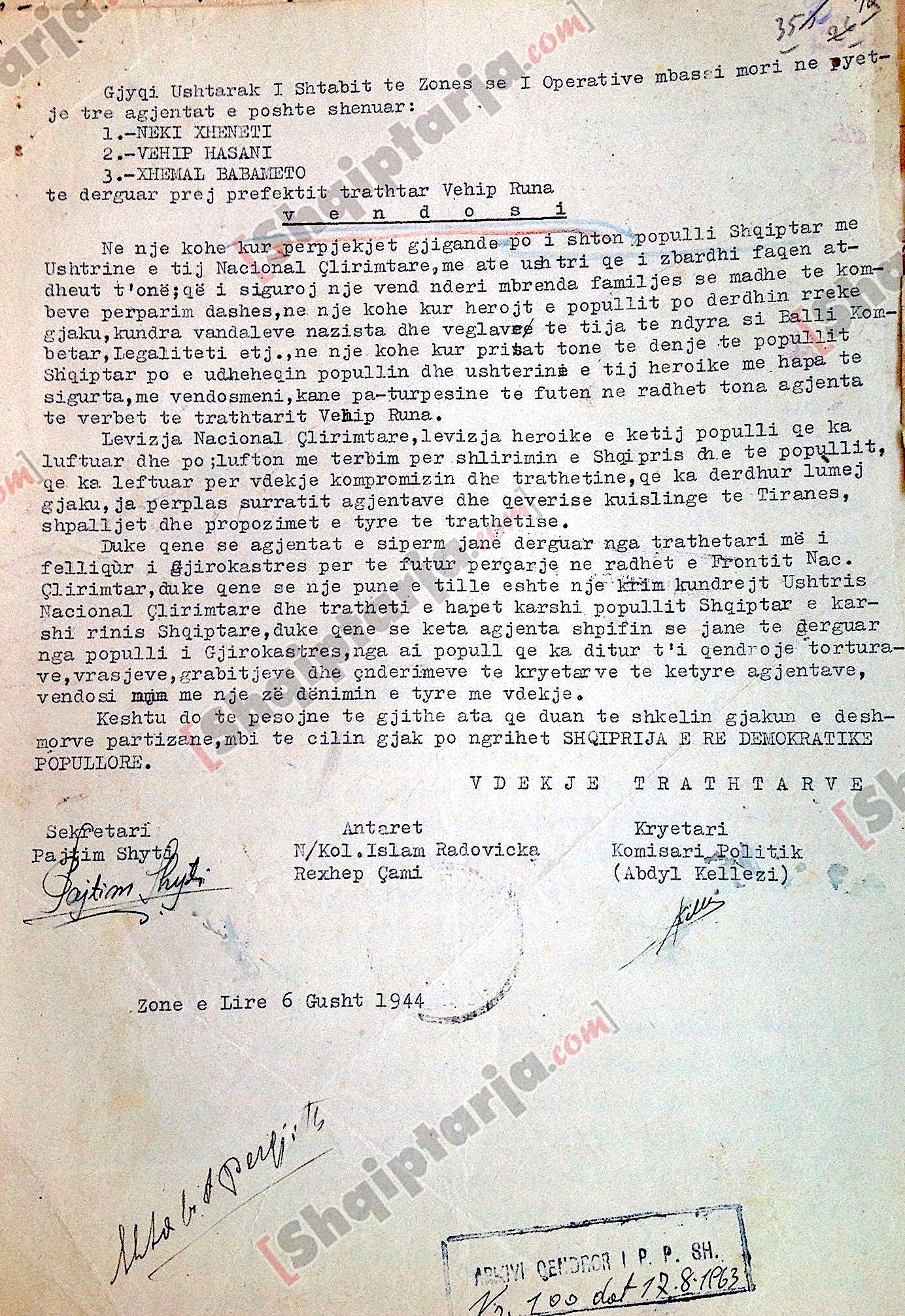 Vendimi Partizan i Dënimit me vdekje të Xhenetit, Hasanit e Babametos