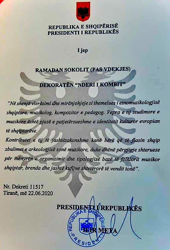 """Prof. Ramadan Sokoli - Motivacioni """"Nderi i Kombit"""""""