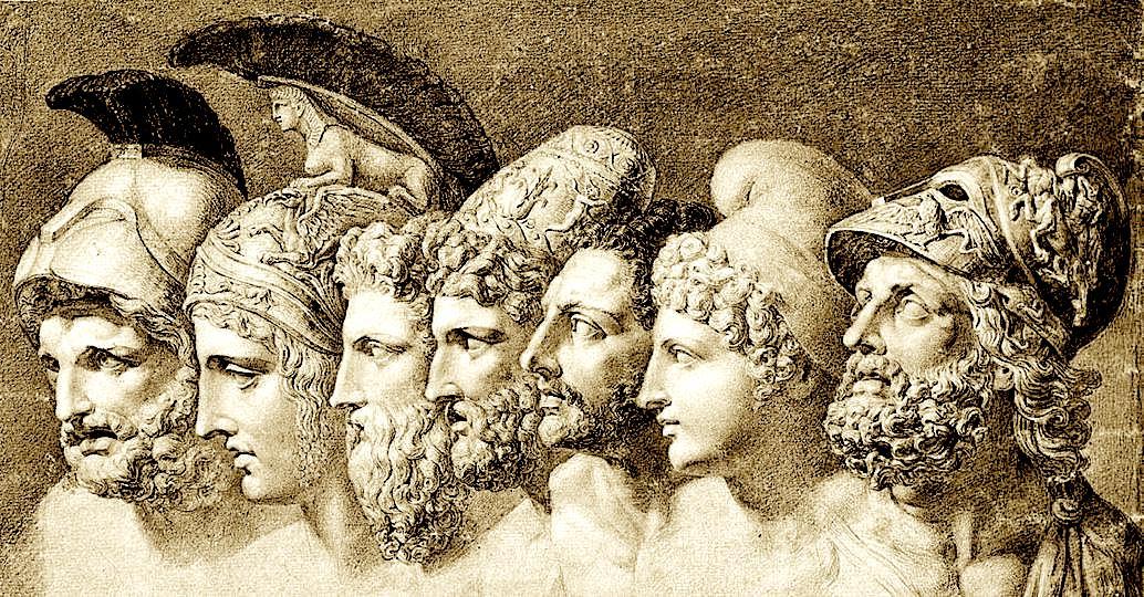 Heronjtë e Trojës në Iliadën e Homerit nga e majta në të djathtë: Menelau - Paridi - Diomedi - Odisea -Nestori - Akili - Agamemnoni