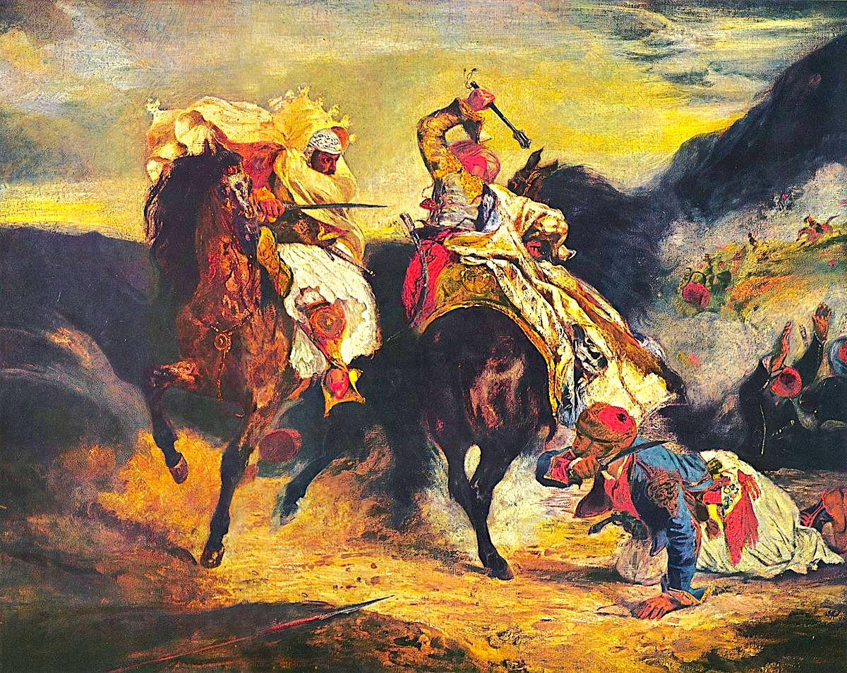 Gjauri duke luftuar me Turkun - Eugene Delakroix