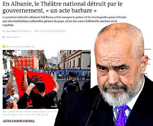 """Artikulli i """"Le Monde"""" - qe e quajti shembjen e Teatrit Kombetar  """"Akt Barbar"""""""