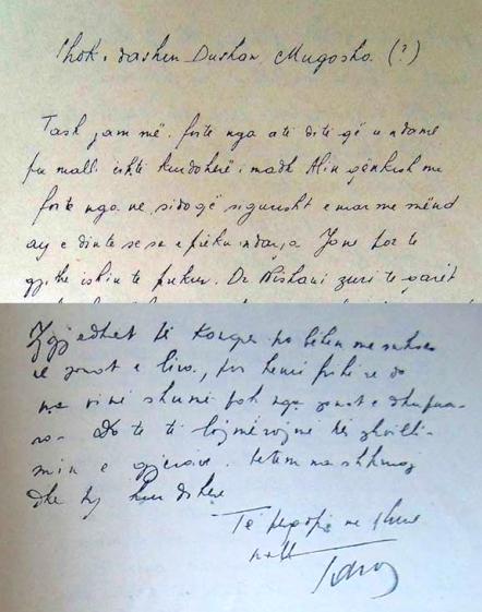 Faksilime e letrës së Hoxhës për Dushan Mugoshën
