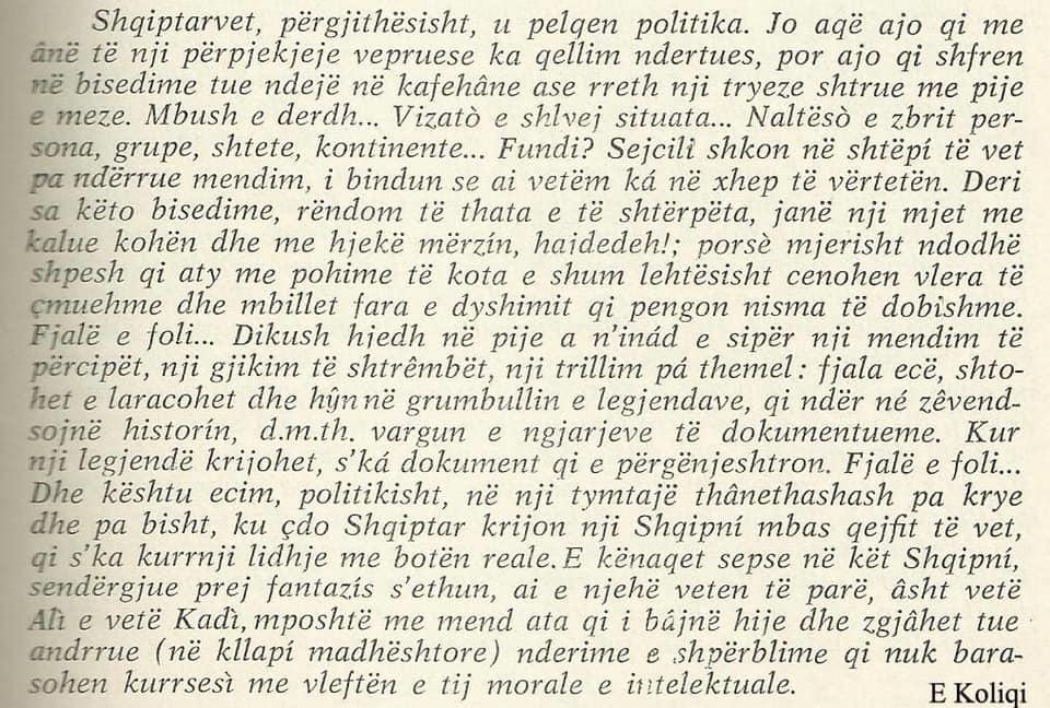 Fragment nga Vepra e Koliqit