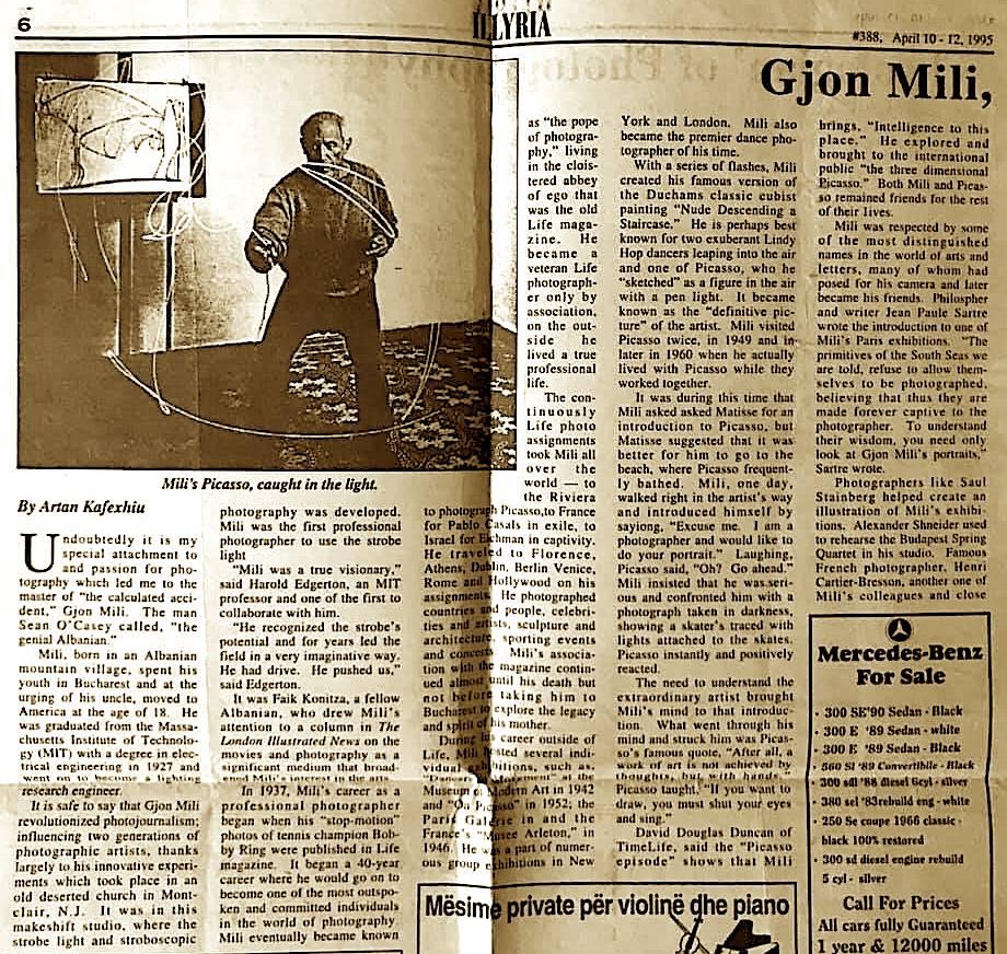 Artan Kafexhiu - shkrim per Gjon Milin (1995)