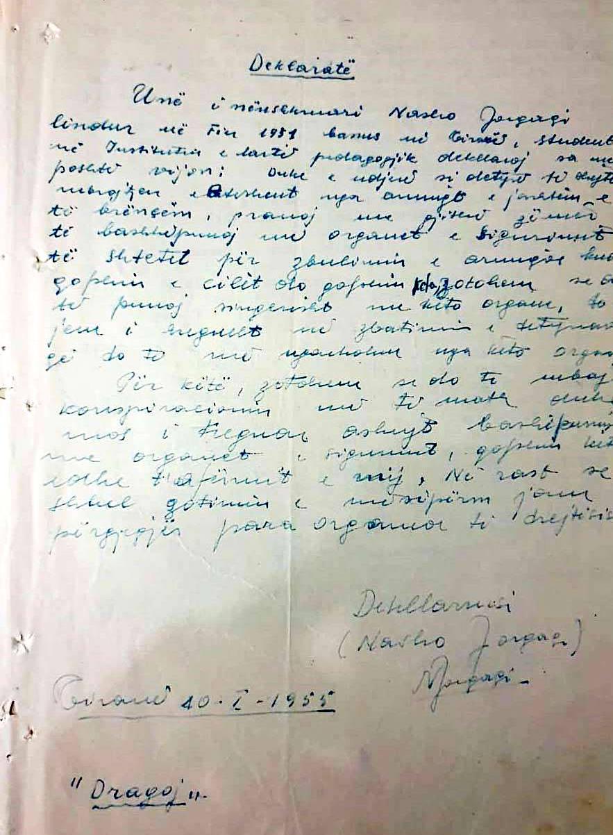 Deklarata e bashkpunimit me Sigurimin e Nasho Jorgaqit