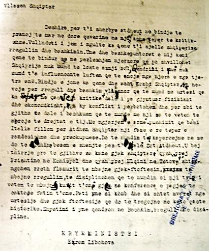 Thirrja telegrafike Kryeministri Ekrem Libohova - 10 shtator 1943