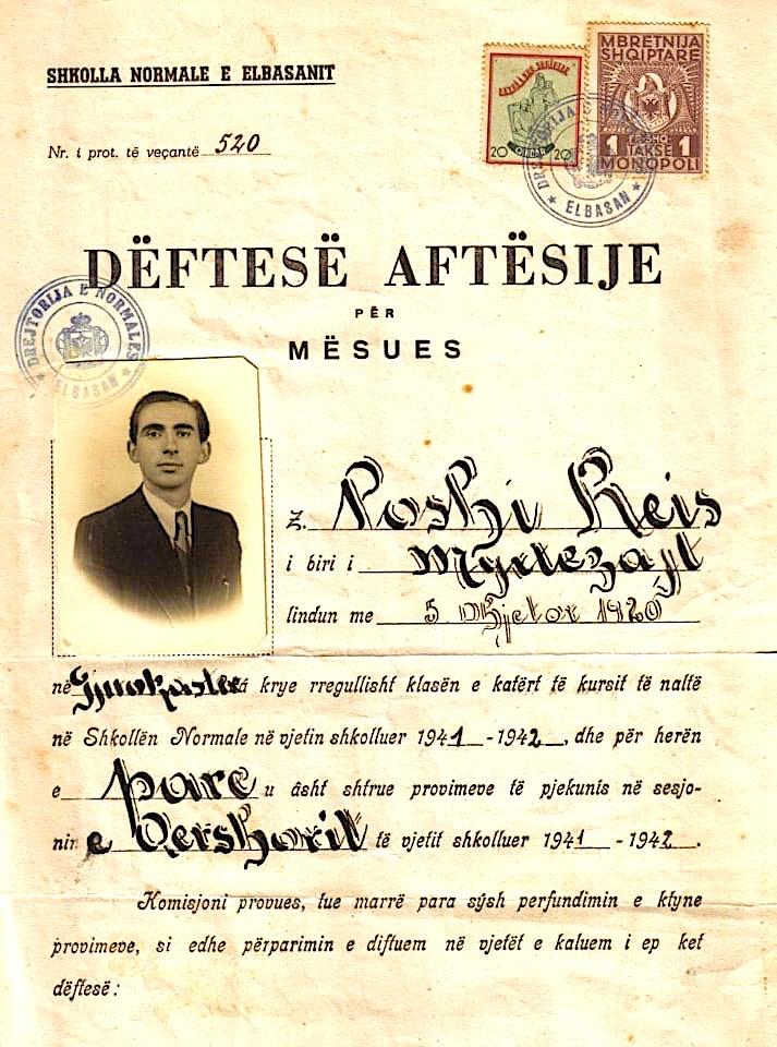 Dëftesë Aftësie e Reis Poshit, kur përfundoi studimet në Normalen e Elbasanit