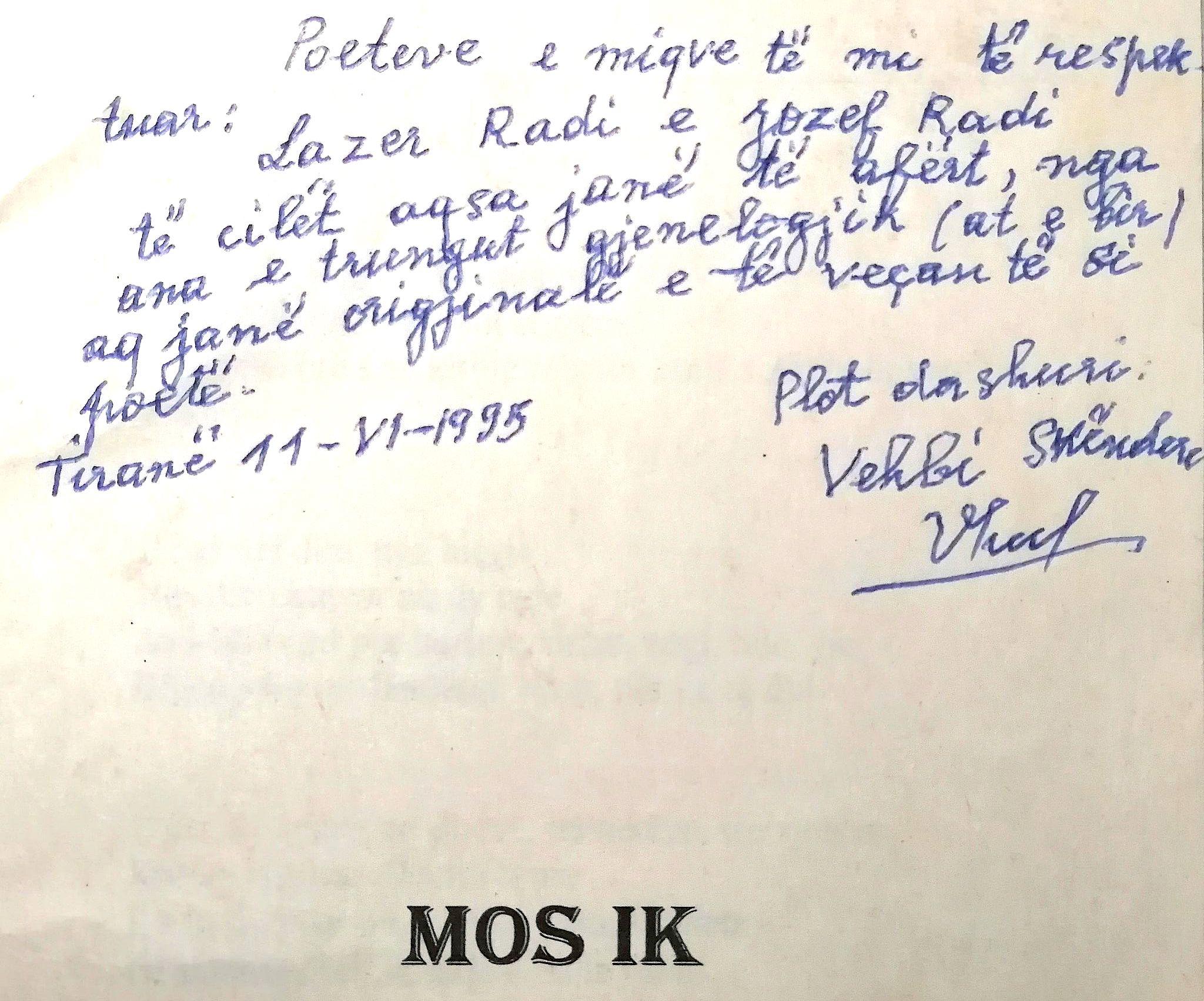 Autograf i Vehbi Skënderit për Radët