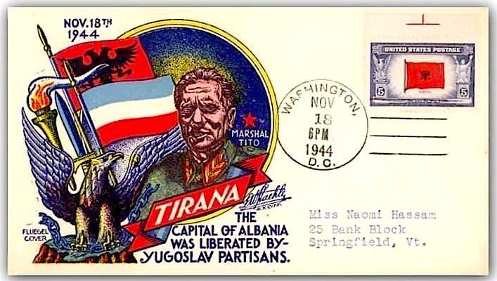 """Kartoline e prodhuar nga Posta e SHBA ne 18 nentor 1944 . Ne te shkruhet : """" Tirana - Kryeqyteti i Shqipërisë u çlirua nga partizanët jugosllavë""""*"""
