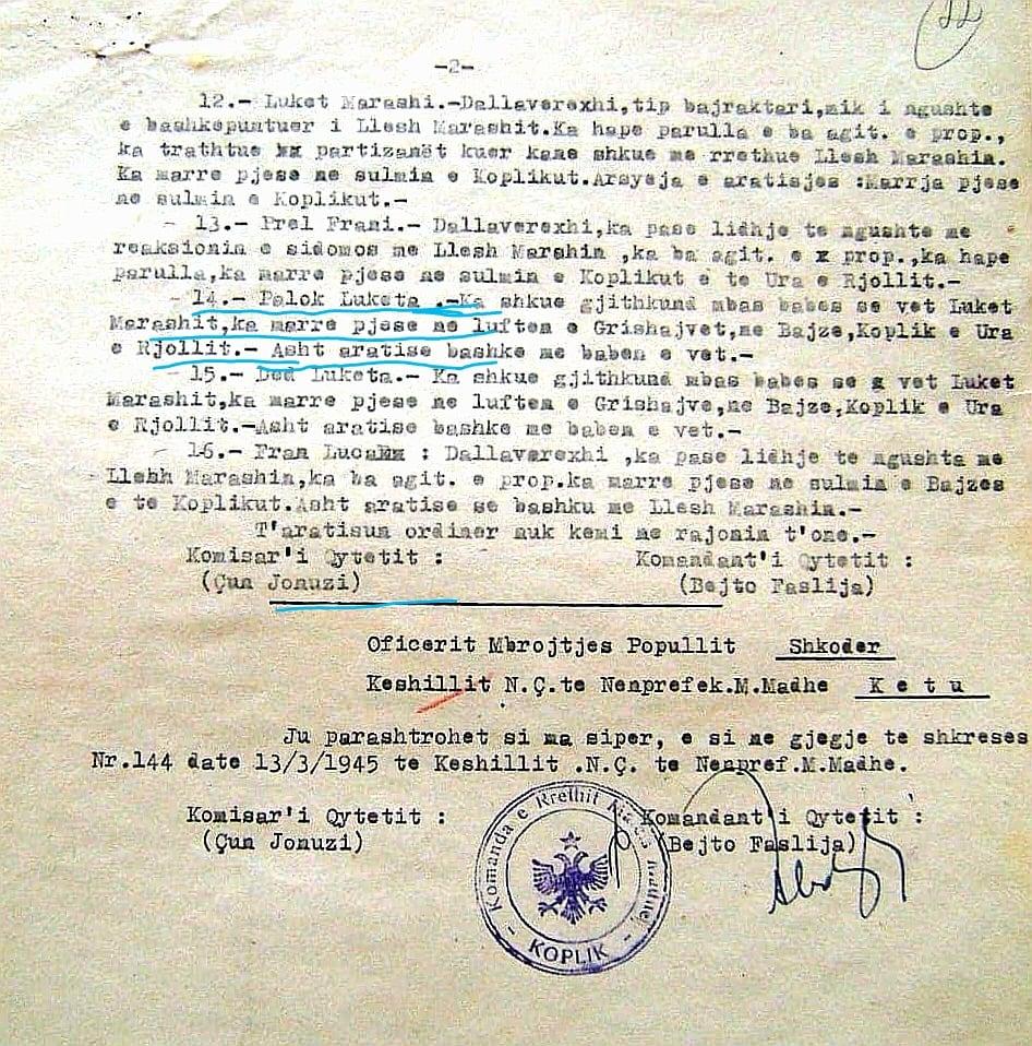 Një dokument mbi familjen e Grishajve dhe Palokën