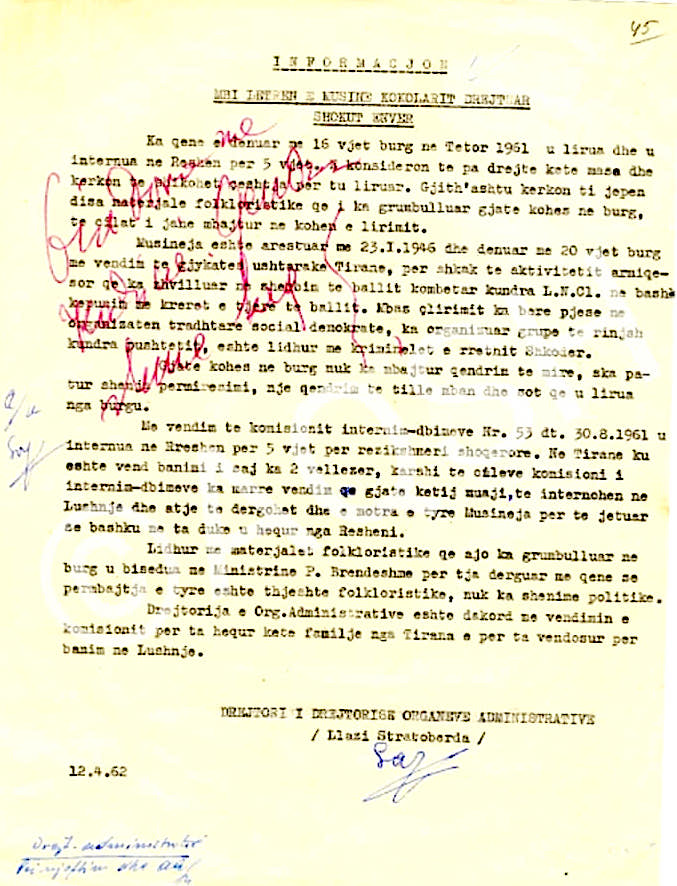 Shënimi i Diktatorit mbi letrën e Musine Kokalarit