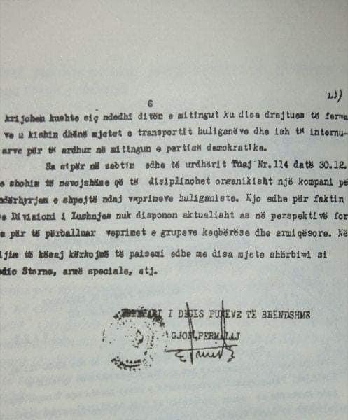 4 janar 1991 - D.P.B. Lushnje i shkruan Hekuran Isait