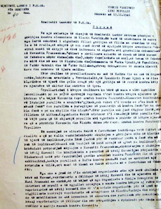 Dokumenti i 17 nëntorit 1946, ku Partia urdhron shkatërrimin e klerit katolik...