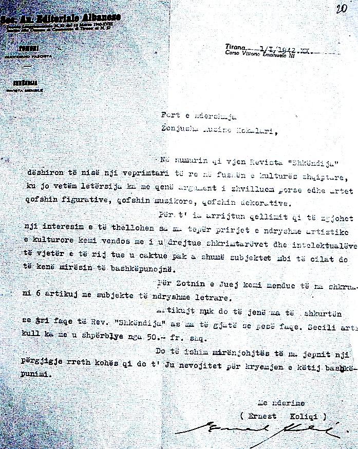 Koliqi e fton Musinenë në Revistën Shkëndija