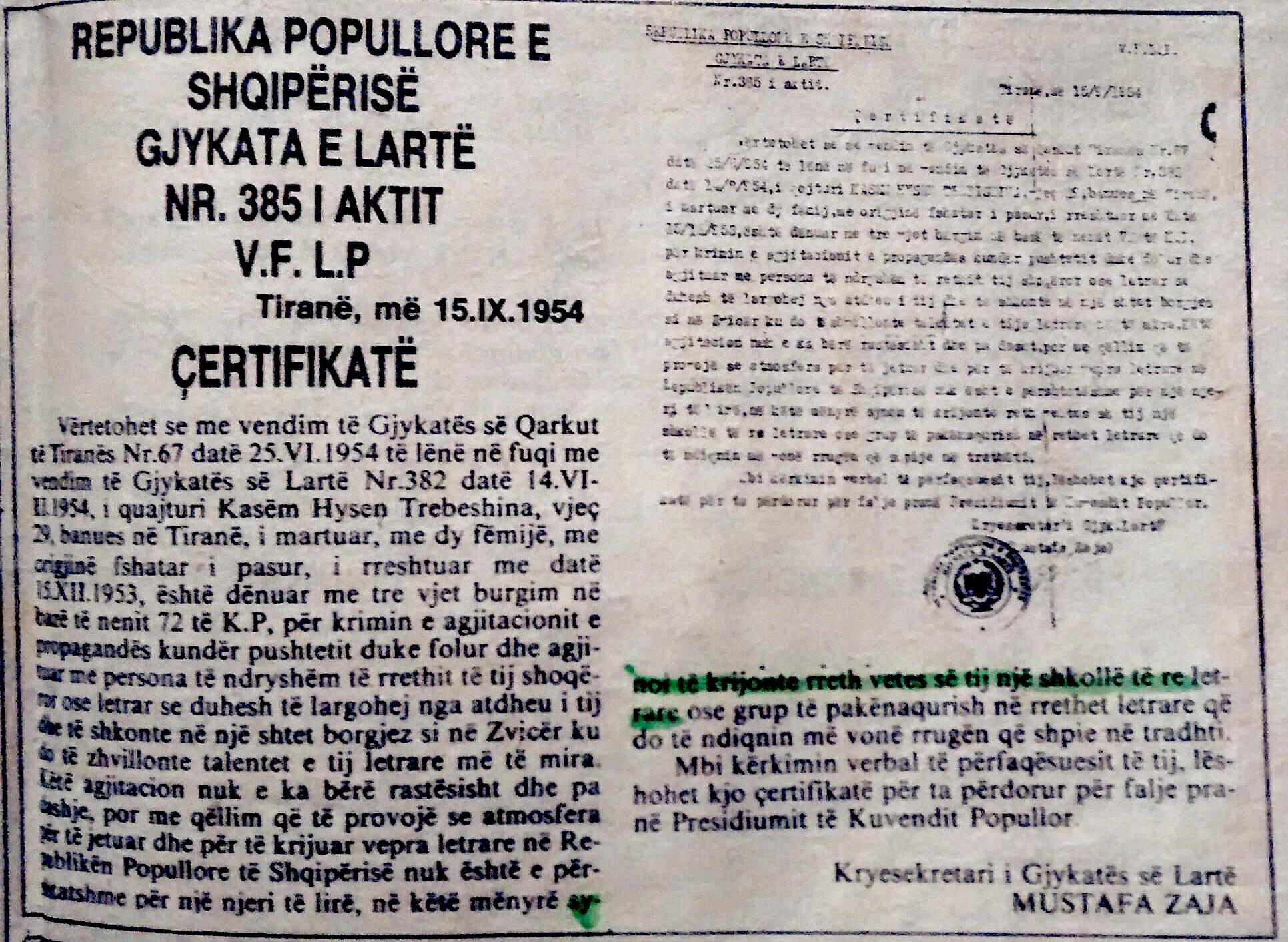 çertifikate lëshuar Kasem Trebeshinës
