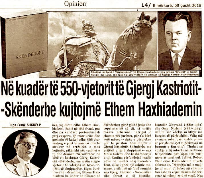Haxhiademi dhe 550 vjetori i Skenderbeut - nga Frank Shkreli