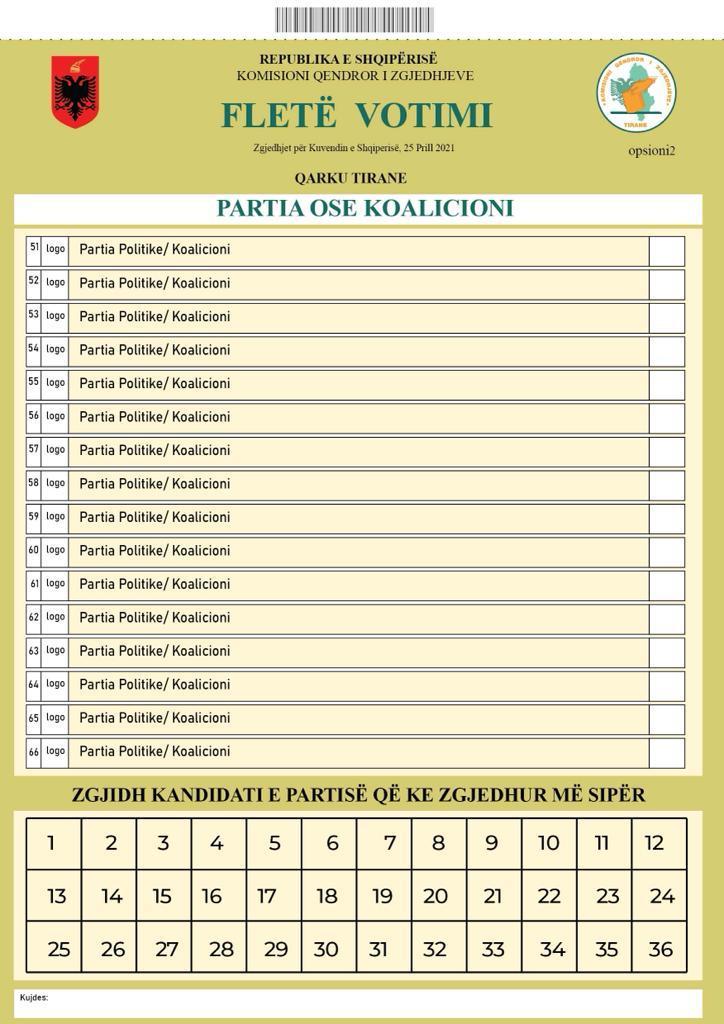Fleta e Votimit - 25 prill 2021 - Qarku Tirane
