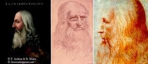 fig. 21. Leonardo da Vinci nga Altissimo, v. 1568 Da Vinci, autoportretv. 1512-1515 dhe Leonardo da Vinci nga nxënësi dhe miku i tij Francesco Melzi, v. 1516-1518.