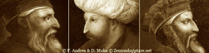 fig.14 . Skënderbeu nga Altissimo, Mehmeti II nga Bellini, anonime, Skënderbeu i T. Curranit
