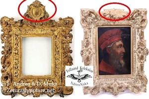 fig.3. Kornizë e tipit Sansovino e artë me vendin e e mblemës, fillimi i shek. 16