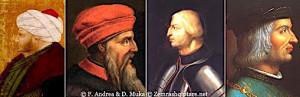 fig.13. Portrete të Mehmetit II, Skënderbeut, Alfonsit V dhe Luigjit XIV.