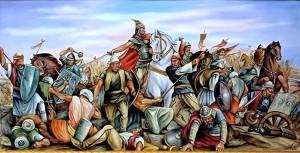 Beteja e Albulenës. Vepër e piktorit Fatmir Haxhiu (Artist i Merituar).