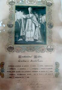 Akti martesor i Kolë Lacës me Cecilia Laca - Kaçulini, në latinisht nga Papa Bendikti i XV