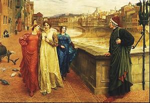 H. Holliday (1883). Takimi i Dantes me Beatriçen, në urën Shen Triniteti në Firence.